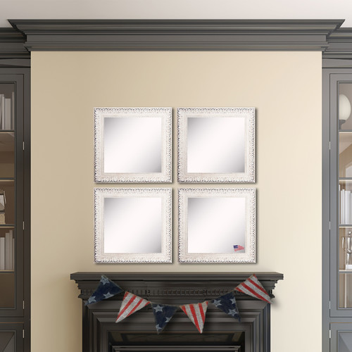 Rayne Mirrors American Made Rayne French Victorian White Square Wall Mirror Set - Antique White