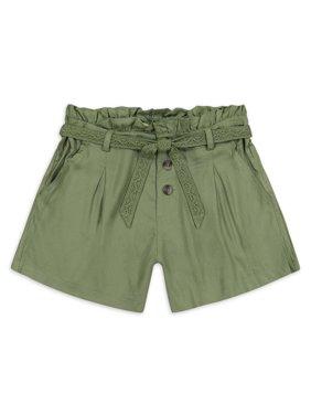 Jessica Simpson Girls Paperbag Waist Shorts with Tie Belt, Sizes 7-16