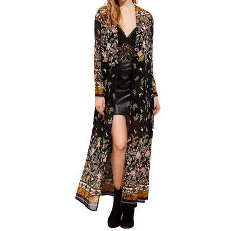 Women Floral Kimono Long Tops Print Beach Swimwear Maxi Cardigan - Floral Intarsia Cardigan