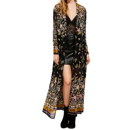 Womens Floral Kimono Long Tops Print Beach Swimwear Maxi Cardigans