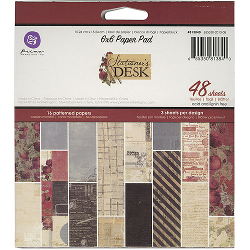 "Prima Marketing Stationer's Desk Paper Pad 6""X6"" 48/Sheets-6 Single-Sided Patterns/3 Each"