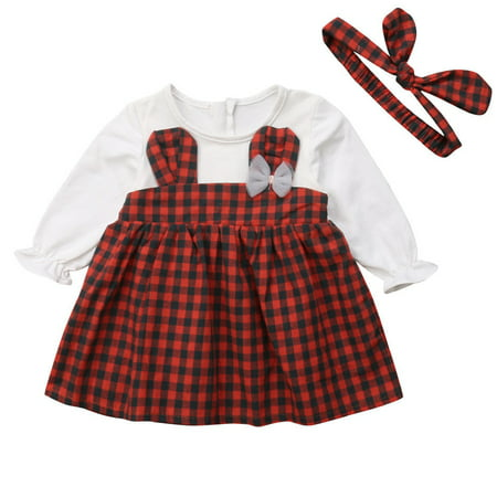 6db024d15 Gaono - Toddler Baby Girl Long Sleeve Rabbit Plaid Pageant Dress With  Headband - Walmart.com