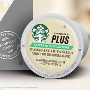 Starbucks Plus Coffee, Madagascar Vanilla Flavored 2X Caffeine Single Cup Coffee for Keurig Brewers, One Box of 16