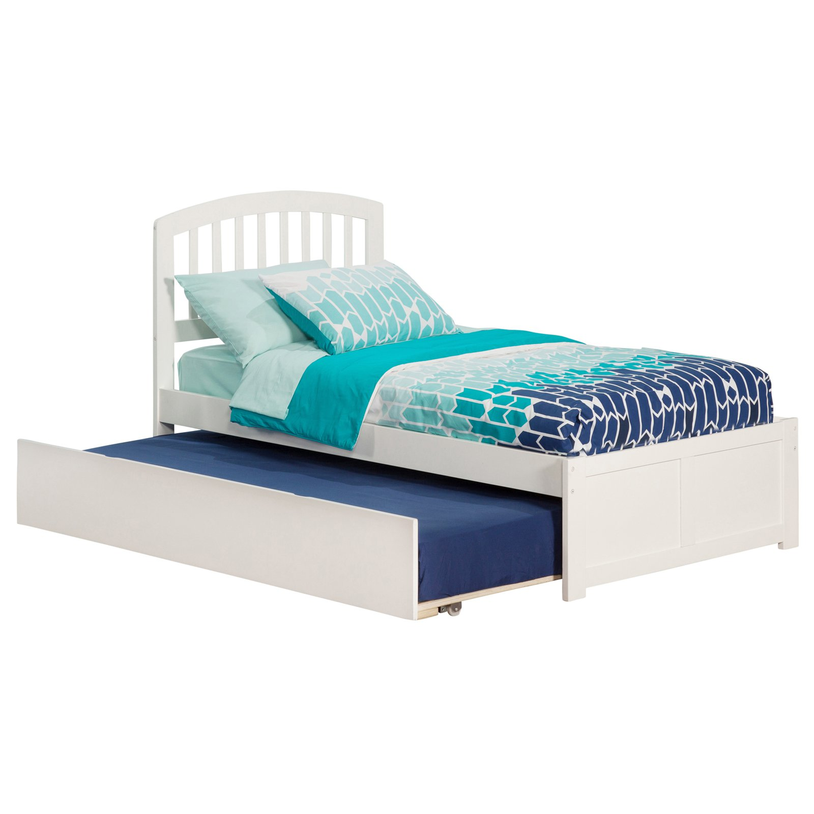 Richmond Twin Platform Bed with Flat Panel Foot Board and Twin Size Urban Trundle Bed in Espresso by Atlantic Furniture