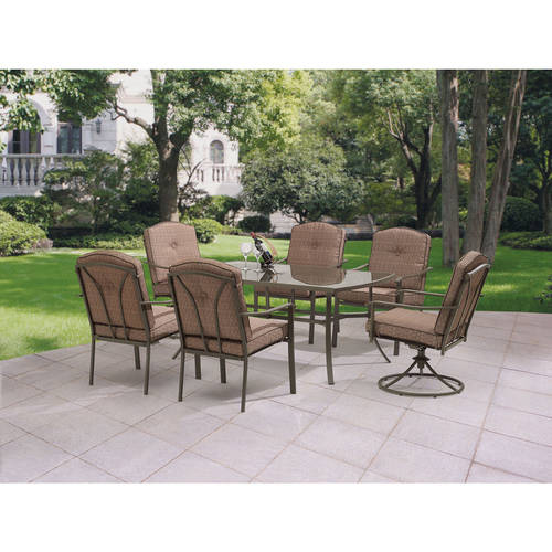 Mainstays Woodland Hills 7-Piece Dining Set, Dark Brown