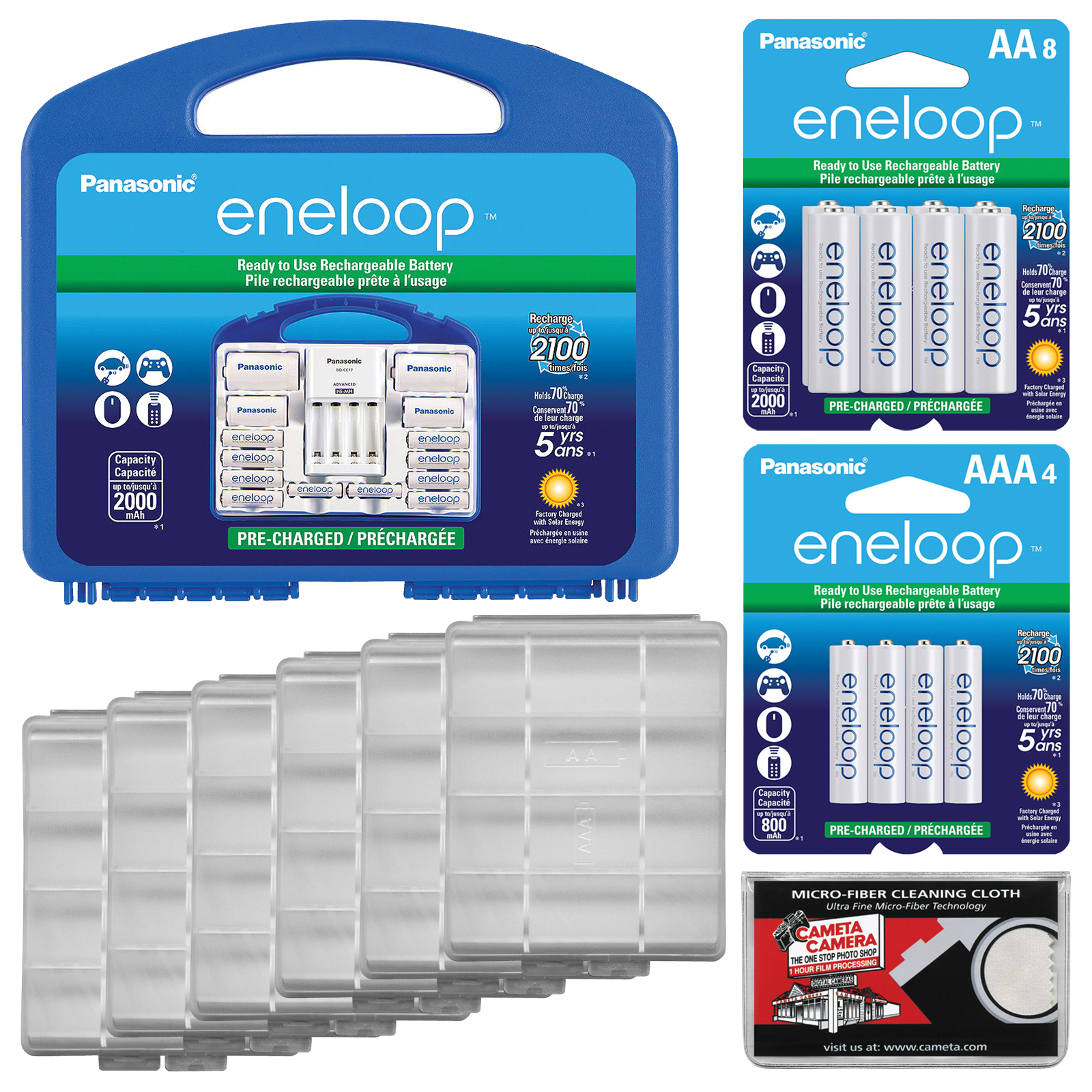 Panasonic eneloop Power Pack Set with 8 AA, 2 AAA Rechargeable Batteries, Charger & Case + (8) Extra AA Batteries + (4) Extra AAA Batteries + (6) Battery Cases + Kit
