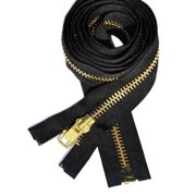 """ZipperStop Wholesale Authorized Distributor YKK® 27"""" inch Chaps Extra Heavy Duty Weight Jacket Zipper YKK #10 Brass ~ Separating ~ 580 Black (1 Zipper/pack) Crafter's Special"""