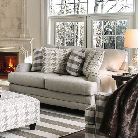 Transitional Fabric Upholstery Loveseat in Gray Christine Furniture of America