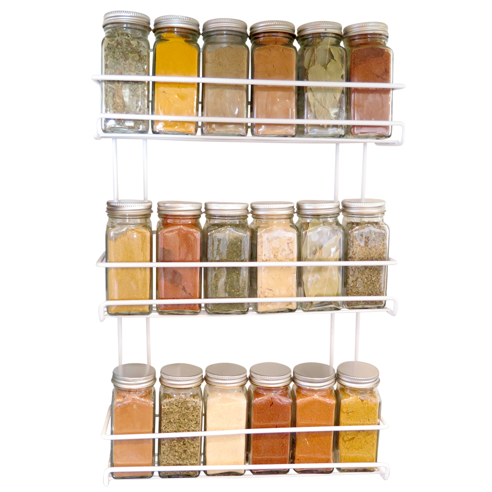 Evelots 3 Tier Wall Mounted Spice Rack, White by Green Mountain Imports