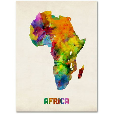 Trademark fine art africa watercolor map canvas art by michael trademark fine art africa watercolor map canvas art by michael tompsett gumiabroncs
