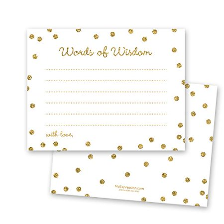 48 Cnt Gold Glitter Graphic Dots Advice Cards - White - image 1 of 1