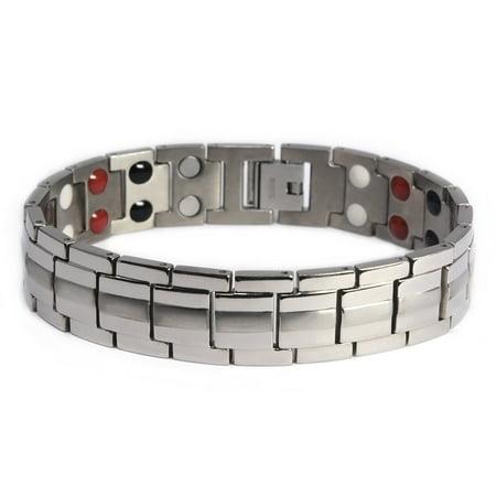 Men's Quad-Element Titanium Magnetic Bracelet - 12,800 Gauss B246 Mens Solid Titanium Bracelets