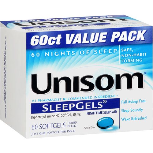 Unisom Nighttime Sleep-Aid Liquid Filled Softgels, 50mg, 60ct