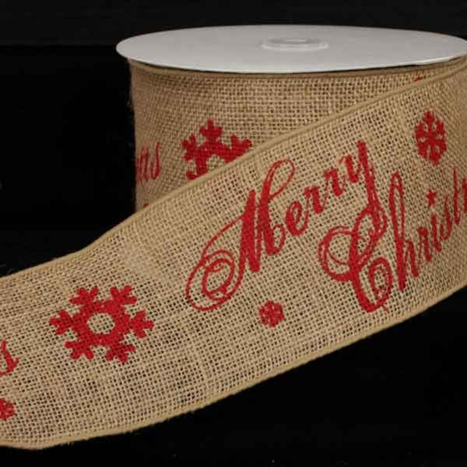 "Natural Burlap Merry Christmas Print Wired Craft Ribbon 4"" x 10 Yards"