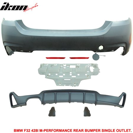 Fits 14-16 F32 428i M-P Style Rear Bumper Cover Single Outlet-Polypropylene Camaro Rear Bumper Cover