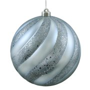"Lake Blue Matte & Glitter Swirl Shatterproof Christmas Ball Ornament 8"" (200mm)"