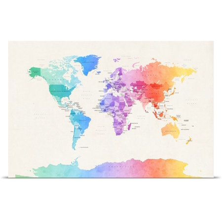 Great BIG Canvas Michael Tompsett Poster Print entitled Watercolour Political Map of the World