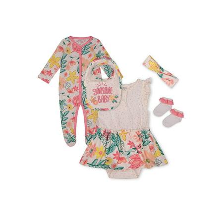 Jessica Simpson Baby Girl Sleep N Play, Bodysuit, Bib, Sock & Headband, 5pc Set