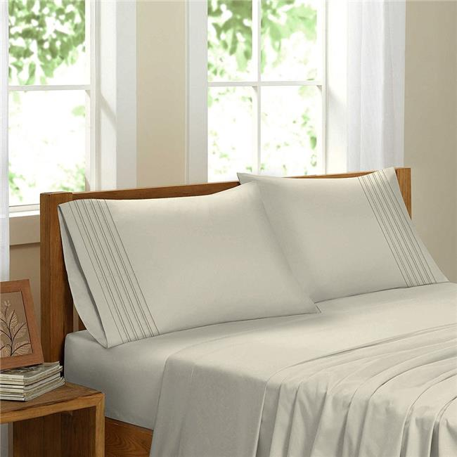 GDC-GameDevCo 37235 Egyptian Comfort Sateen Sheet Set, Ivory - Double