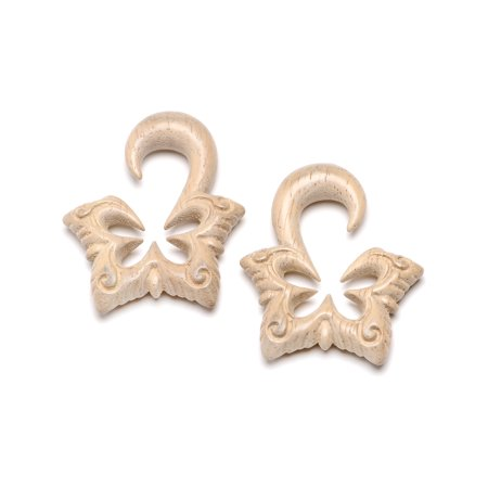 Body Candy Womens Ear Plug Gauges Organic Hand Carved Wood Lotus Butterfly Hanger Plugs Stretched Ears