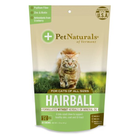 Pet Naturals of Vermont Hairball, Daily Digestive, Skin + Coat Support for Cats, 30 Bite Sized Chews