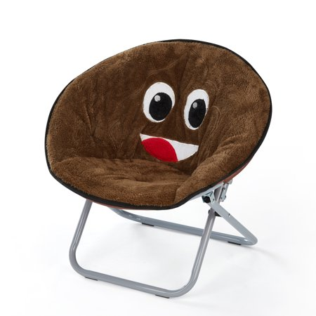 EmojiPal Emoji Faux Fur Saucer Chair, Multiple Prints