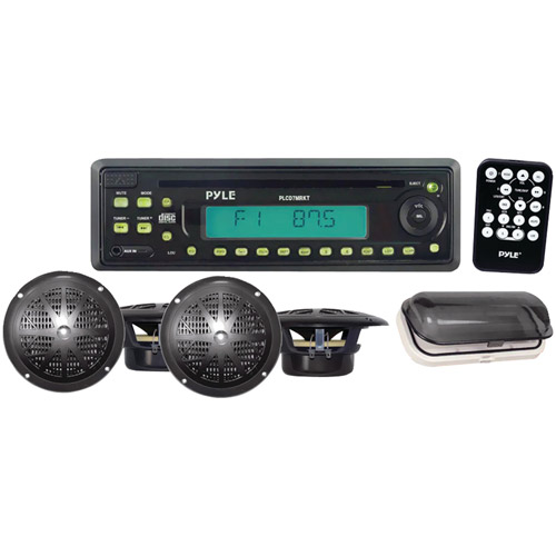 "Pyle Single-DIN In-Dash Marine AM/FM/CD Receiver with 4 x 5.25"" Speakers and Splash Proof Radio Cover, Black"