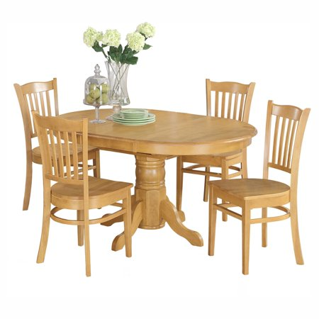 East West Furniture Avon 5 Piece Pedestal Oval Dining Table Set with Groton Wooden Seat Chairs