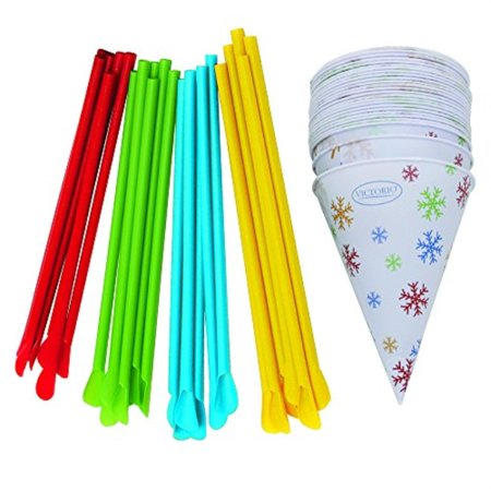 Natural Straw (Time for Treats Snow Cone Cups and Spoon Straws 25-Pack by VICTORIO VKP1125)