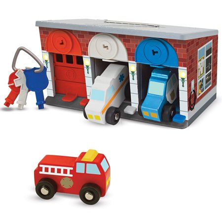 Melissa And Doug Car Carrier (Melissa & Doug Toy Keys and Cars Wooden Rescue Vehicles and Garage (7)