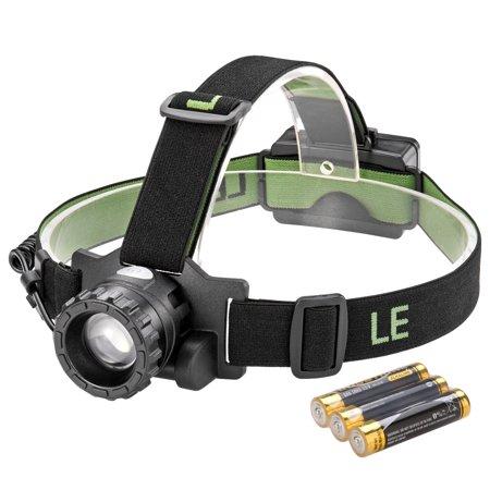 Lighting EVER LED Headlamp, 3 Modes Headlight, Battery Powered Helmet light, CREE LED, for Camping Running Hiking Reading, 3 AAA Batteries (Best Lighting Ever Lighting Ever Rechargeable Headlamps)