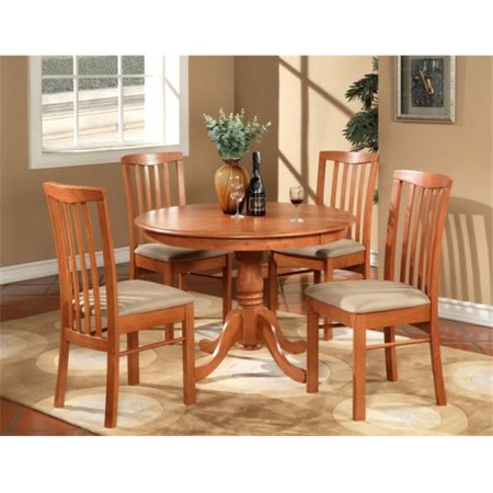 Wooden Imports Furniture HL3-CHR-C 3 PC Hartland Table 42 in. Round Table and 2 Microfiber Upholstered seat Chairs - Light Cherry Finish