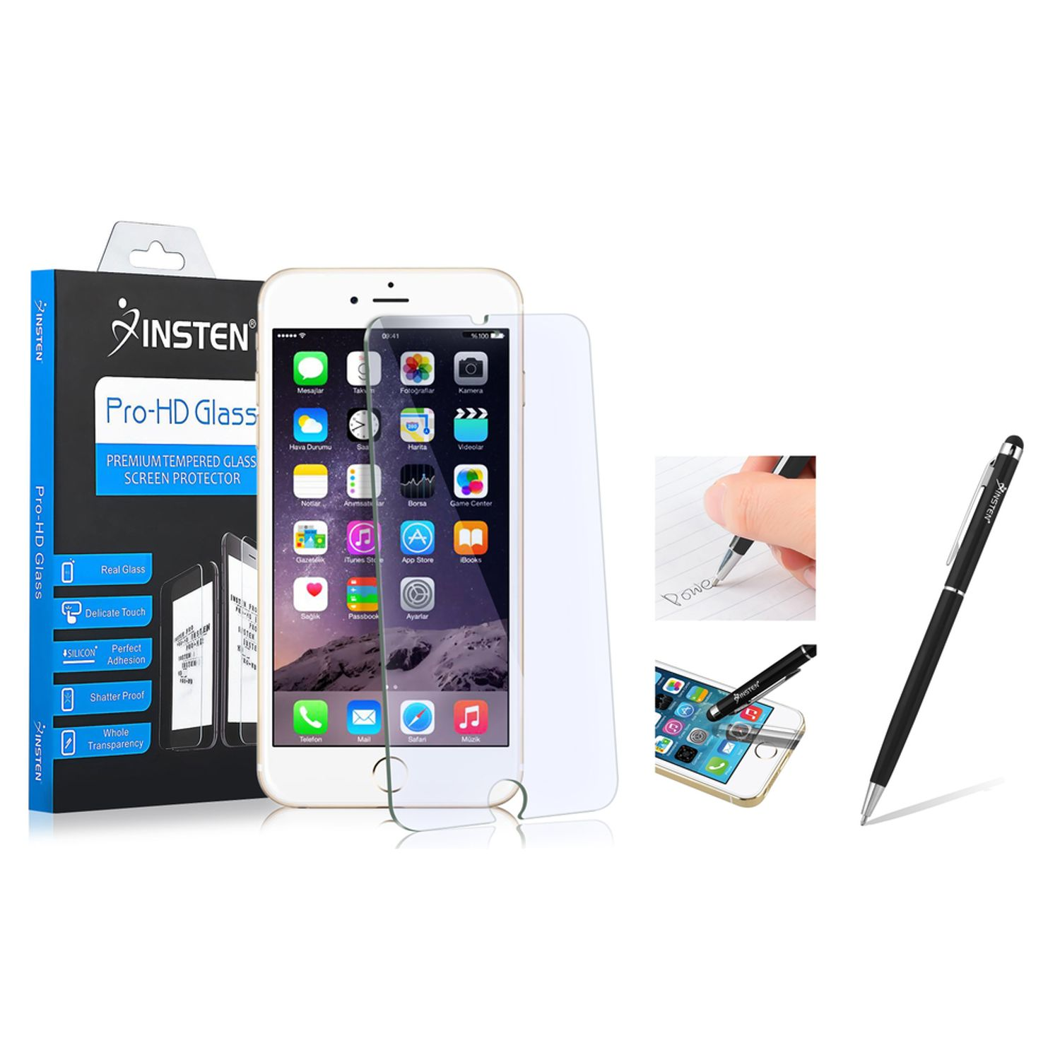 "Insten For iPhone 6S Plus 6 Plus 5.5"" Tempered Glass Screen Protector (with Stylus Ballpoint Pen) (2-in-1 Accessory Bundle)"