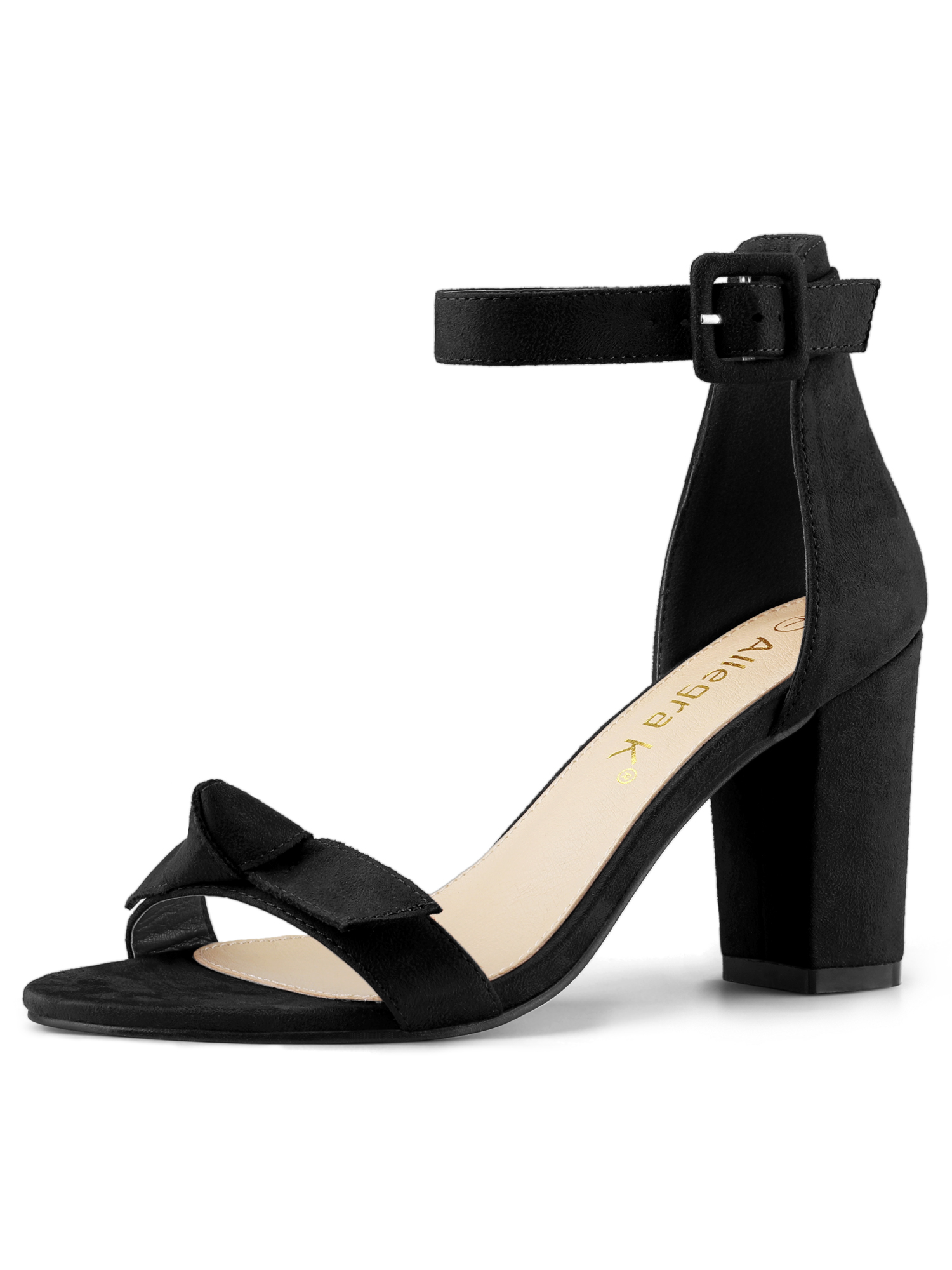 Women's Bow Chunky Heel Ankle Strap Open Toe Sandals Black US 7/UK 5/EU 37.5