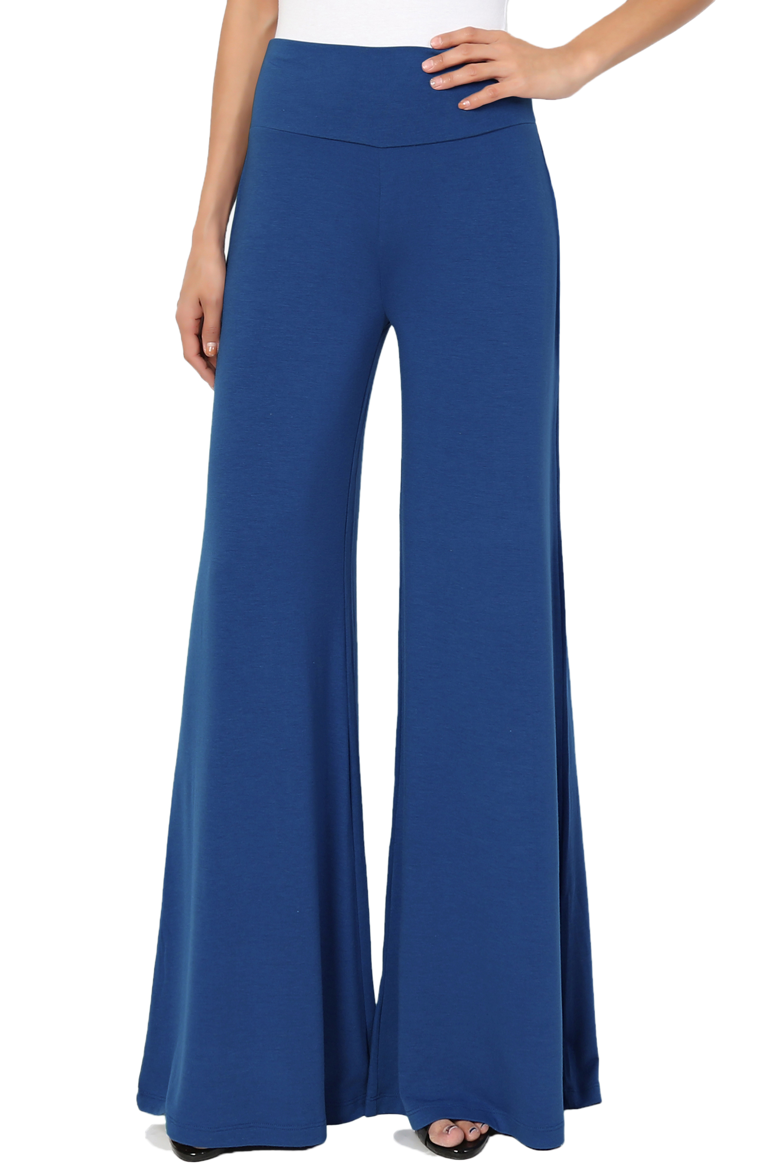 "TheMogan Women's S~3X 33.5"" High Waist Soft Jersey Wide Leg Palazzo Lounge Pants"
