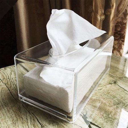 Acrylic Tissue Dispenser - Tissue Box Cover Rectangle,Modern Clear Acrylic Bathroom Facial Tissue Dispenser Box Cover / Decorative Napkin Holder