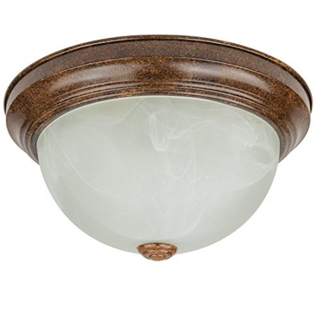 Flushmount Distressed Brown Finish, Alabaster Glass 11-Inch Includes 2 Light Bulbs Ceiling Light Fixture
