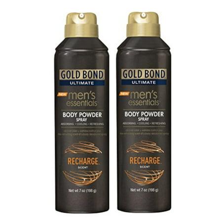 2 Pack Gold Bond Ultimate Mens Essentials Powder Spray Recharge Scent 7 oz