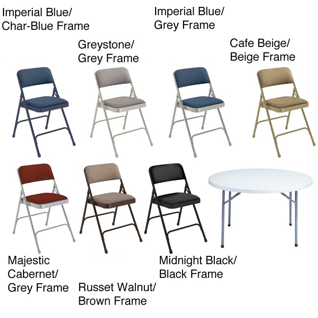 National Public Seating NPS Lightweight Steel 48-inch Round Table and Four Folding Chairs Set