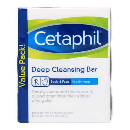 Cetaphil Deep Cleansing Bar, 4.5 oz, 3 count