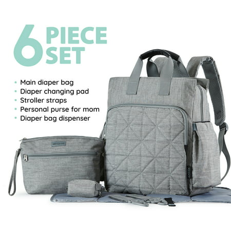 - SoHo Collections, Unisex Designer Diaper Bag Backpack, 6 Piece Set with Stroller Straps, Kenneth (Gray)