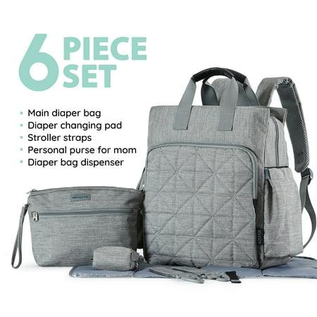 SoHo Collections, Unisex Designer Diaper Bag Backpack, 6 Piece Set with Stroller Straps, Kenneth