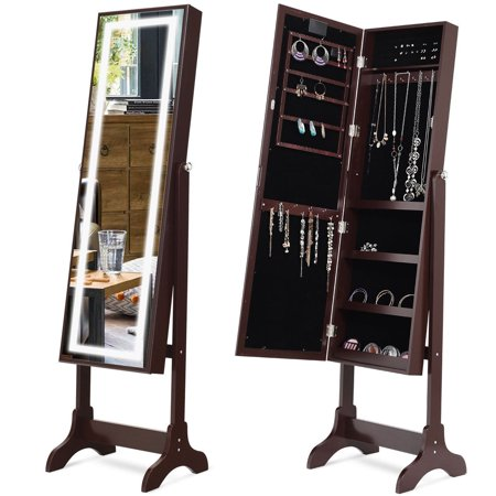 Touch Screen Led Light Mirrored Jewelry Cabinet Armoire