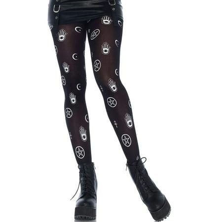 a4b1c0d6e Leg Avenue Mystical Symbol Opaque Printed Pantyhose Tights Hamsa Pentagram  O S - image 1 ...
