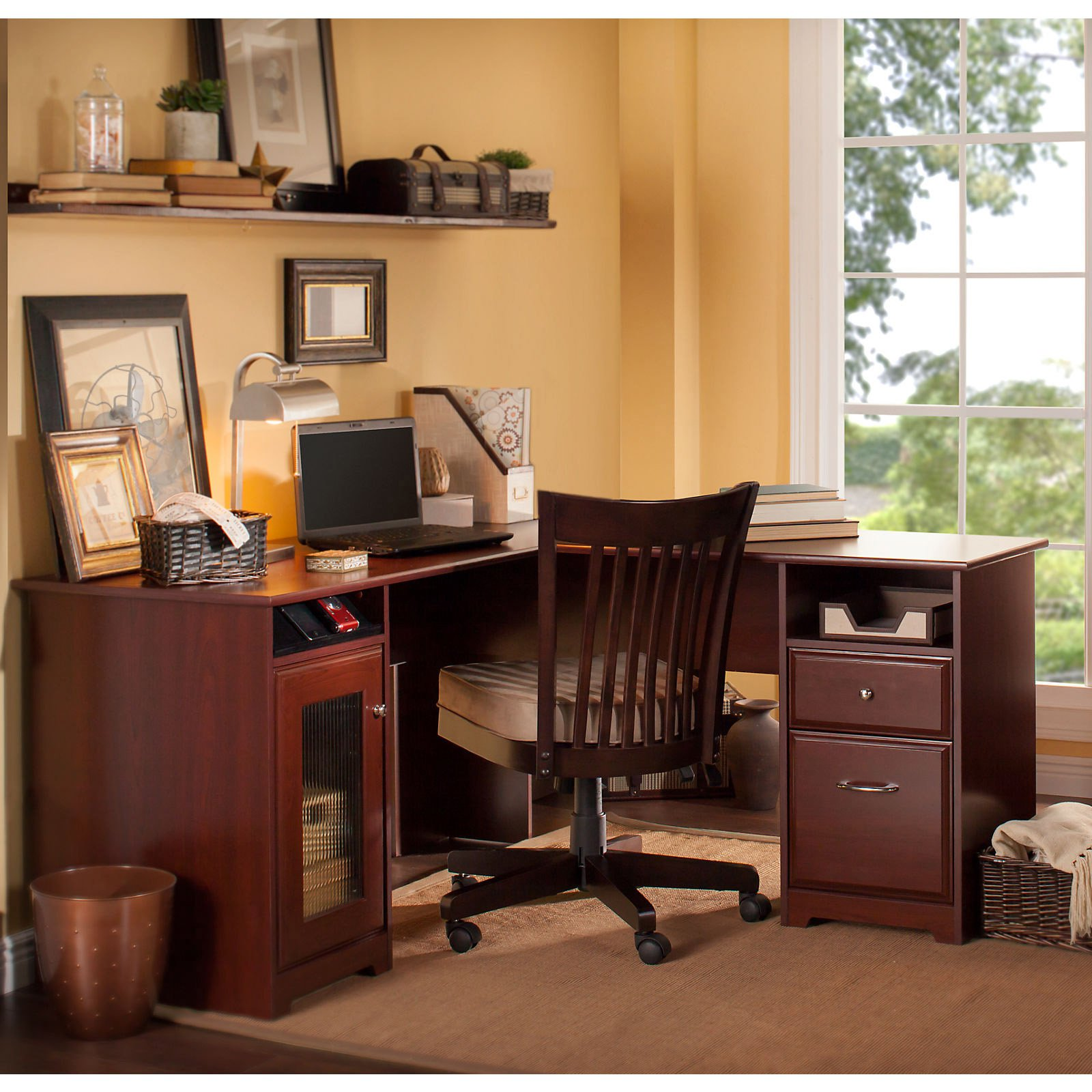 Cabot 60 In L Shaped Desk Harvest Cherry Walmart Com