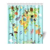 MYPOP Children Kids Shower Curtain Decor, Animal Map of the World for Children and Kids Cartoon Ocean Mountains Forests Fabric Bathroom Set with Hooks, 66 X 72 Inches, Green Yellow Blue
