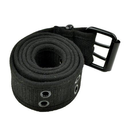 Grommet Belt for Women & Men - Double Hole Grommets Canvas Web Belts - Military Style Belt - 2 Prong Buckle by Belle Donne - Black (Mens Grommet Belt)