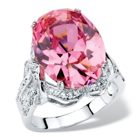 - 13.24 TCW Oval-Cut Simulated Pink Tourmaline Cubic Zirconia Cocktail Ring with White CZ Accents Platinum-Plated