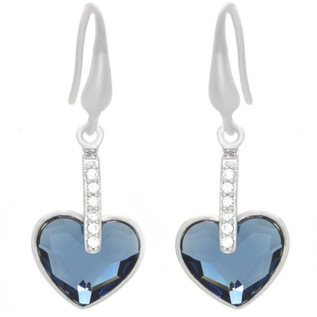 Designer Wood Earrings - American Designs Clear CZ and Blue Swarovski Crystal Sterling Silver Heart Love Designer Dangle Drop French Wire Earrings