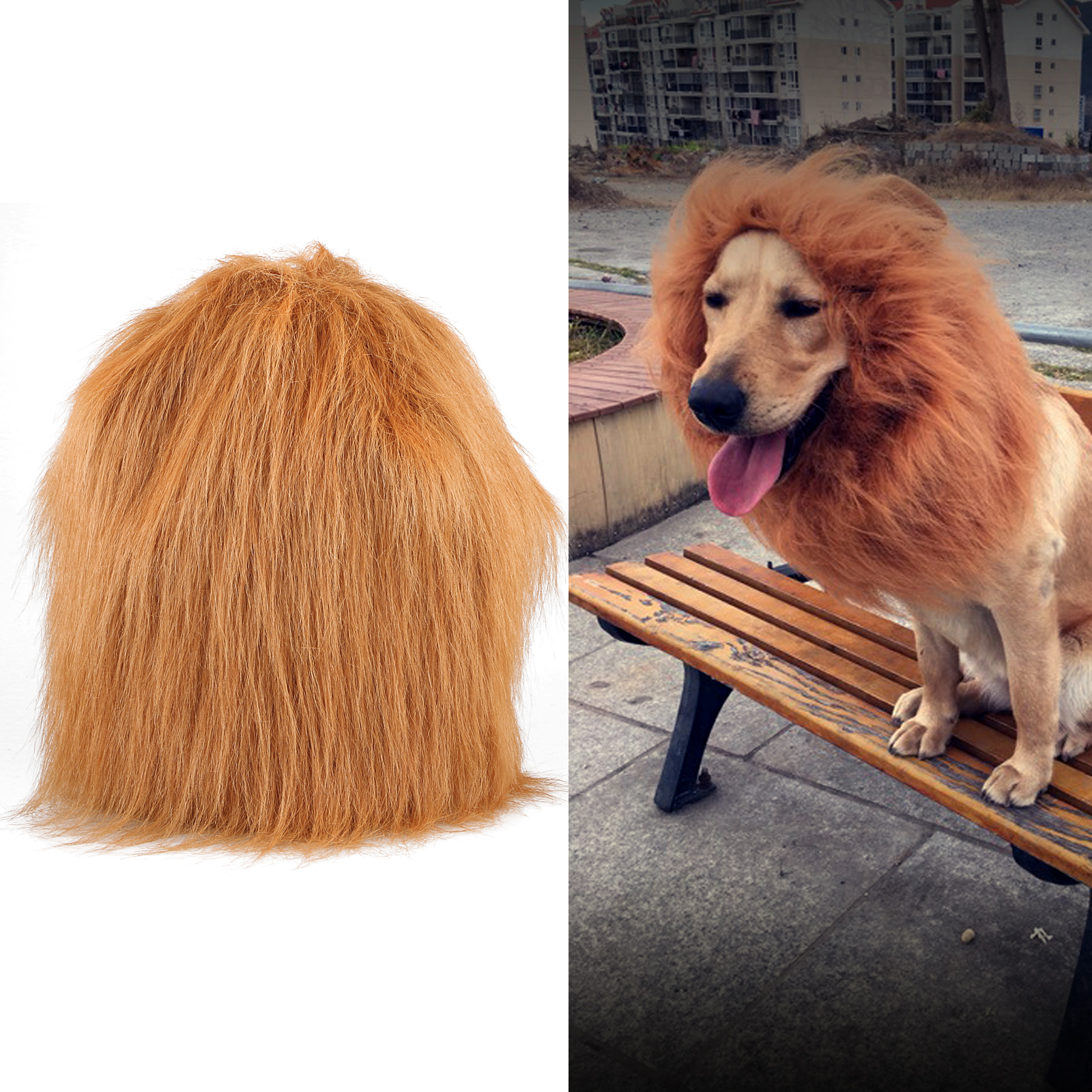 TSV Lion Mane Costume for Cat and Dog - Pet Wig Clothes for Halloween Party